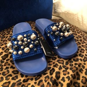Zara blue pearl sandals size 5 US New with Tag!!!!